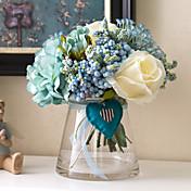 1 ブランチ バラ ボタン かすみ草 テーブルトップフラワー 人工花