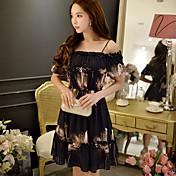 女性用 ボヘミアン シース 黒 シフォン ドレス - フリル, フラワー カラーブロック ストラップ