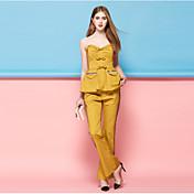 Mujer Casual Tiro Medio Microelástico Ajustado a la Bota Empresa Pantalones,A Rayas Algodón Poliéster Nailon Primavera Verano