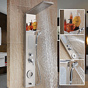 Moderno Sistema ducha Cascada Separado Alcachofa incluida Válvula Cerámica 2 Orificios Sola manija Dos Agujeros Acero Inoxidable , Grifo