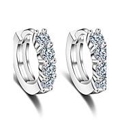 フープピアス キュービックジルコニア 純銀製 シルバー ジュエリー のために 結婚式 パーティー 日常 カジュアル 1ペア