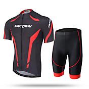 XINTOWN Hombre Manga Corta Maillot de Ciclismo con Shorts - Blanco Rojo Azul Bicicleta Shorts/Malla corta Camiseta/Maillot