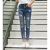 2017新しい韓国の女性の人格穴ゆるいジーンズの足に署名