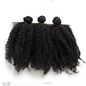 Cabello humano Cabello Peruano Tejidos Humanos Cabello Rizado rizado Afro Ondulado Extensiones de cabello 4 Piezas Negro