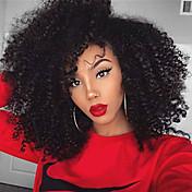 女性 人工毛ウィッグ フロントレース ミディアム丈 Kinky Curly ライトブラウン ジェットブラック ブラック ダークブラウン ミディアムブラウン ナチュラルヘアライン サイドパート ブラックアメリカン風ウィッグ ナチュラルウィッグ コスチュームウィッグ