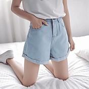 穴緩いデニムショートパンツ女性の夏の韓国人学生が薄いカーリングホットパンツワイドレッグジーンズでした
