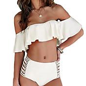 Mujer Bandeau Bikini Cintura Alta Volantes Color Único,Poliéster,Sólido