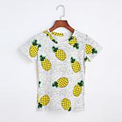 レディース お出かけ 春 夏 Tシャツ,シンプル ラウンドネック プリント コットン 半袖