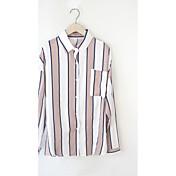 レディース カジュアル/普段着 Tシャツ,シンプル ホルター ストライプ コットン 長袖