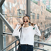 キャンディー色の薄いモデルの野生の緩いソリッドカラーラウンドネック長袖Tシャツの署名春の新しい韓国版