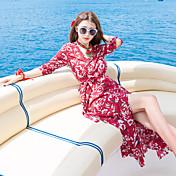 タイの潮のブランドの新しい左岸シャオ同じ段落海辺のリゾートビーチ分割プリントジャンプスーツドレス本物のショット