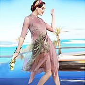 Mujer Corte Ancho Recto Vestido Noche Casual/Diario Playa Vintage Simple Sofisticado,Floral Estampado Animal Asimétrico Hasta la Rodilla