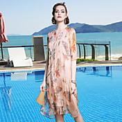 Mujer Línea A Vestido Casual/Diario Playa Noche Simple Sofisticado,Floral Escote Redondo Hasta la Rodilla Seda Primavera Verano Tiro Medio