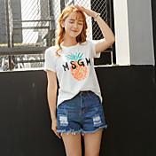 竹の夏の新しい緩い袖のTシャツの女子学生の韓国の綿のプリント半袖の長いセクション