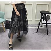 夏の野生の不規則なステッチのチェック柄のスカートベーススカートネットベールの女性