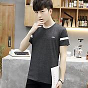 Verano simple de manga corta camiseta de impresión macho coreano hombres delgados afluencia de hombres alrededor de la camisa cuello lele