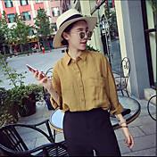 韓国語版は薄い緩い文学レトロなポケットソリッドカラーの綿の長袖シャツカジュアルシャツ女性の秋でした