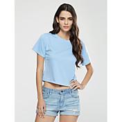 Mujer Sexy Casual/Diario Verano Camiseta,Escote Redondo Un Color Estampado Manga Corta Algodón Opaco