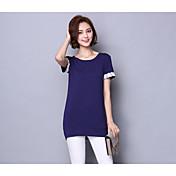 レディース カジュアル/普段着 Tシャツ,ヴィンテージ ラウンドネック カラーブロック コットン 半袖