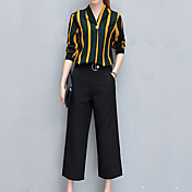 Feminino Camisa Calça Conjuntos Festa Casual Trabalho Simples Vintage Moda de Rua Verão,Listrado Decote Princesa Manga Longa