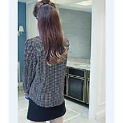 新しい韓国の蝶ネクタイ長袖の格子縞のシャツの女性のバックシャツ緩いシフォンブラウス