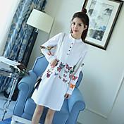 2017春の新しい3次元蝶の刺繍ランタンスリーブシャツの襟のドレススカートロングセクション