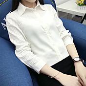 新しい日本の小さな新鮮なソリッドカラーの長袖シャツシャツ韓国のスリムな演劇の白いライニングに署名