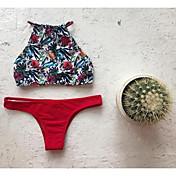 De las mujeres Bikini-Floral Escote Con LazoHalter-Poliéster
