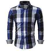 メンズ カジュアル/普段着 シャツ,シンプル シャツカラー カラーブロック コットン 長袖
