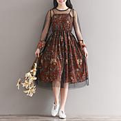 スリングメッシュベールピースリアルショットの緩やかな長袖の花柄のシフォンドレススカートの長いセクション