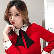 サインインしている#韓国人人形の襟の弓ブラウスワイルド気質ルーズ長袖シフォンシャツ女性