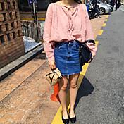 新しいスリムウエストの韓国版は薄いフリンジスカートスカートカレッジ風女性のデニムスカートだった