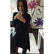 Mujer Línea A Vestido Casual/Diario Elegante,Color sólido Escote Redondo Sobre la Rodilla, Mini Manga Larga N/A Verano Alta cintura Rígido