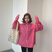 レディース ショッピング 屋内 学校 デート 春 秋 シャツ,キュート シャツカラー 縞柄 コットン 長袖 ミディアム