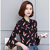 記号の春新しい女性の長袖シャツトランペットの袖は蝶ネクタイとフラフリーなシフォンシャツ花のシャツ