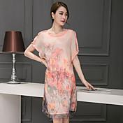 2017夏の新しい緩い半袖シルクレトロな夏のドレスをプリントシルクドレスの女性