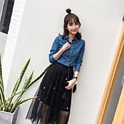 最新2017春モデルカレッジ風ワイルド刺繍デニムシャツ