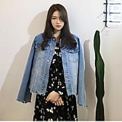 17年春の新しい不規則な裾のデニムジャケットレトロな女性の韓国人の学生の長袖シャツジャケット
