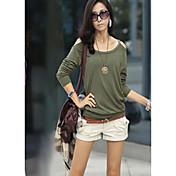 新しい韓国の秋の素足のハーネススタイルのファッションオリーブ栽培の長袖Tシャツ