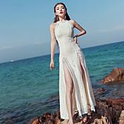 女性用 Aライン ドレス - アーティスティック, 純色 マキシ ハイウエスト