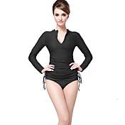 女性用 2mm ダイブスキン フロントファスナー 滑らか サンスクリーン ゼブラプリント エラステイン ナイロン 潜水服 長袖 スイムウェア ダイビングスーツ トップス-水泳 ビーチ ソリッド