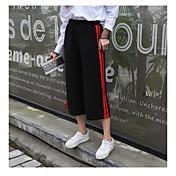 Mujer Casual Tiro Alto Alta elasticidad Perneras anchas Chinos Pantalones,Un Color Primavera