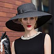 チュール わら フラワー - 帽子 1個 結婚式 パーティー カジュアル かぶと