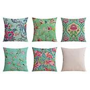 5 PC Lino Almohada de viaje El amortiguador del sofá Funda de almohada Almohada de cama Almohada de cuerpo,Estampados Floral Estampado