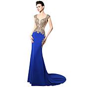 Trompeta / Sirena Escote Cuadrado Larga Jersey Evento Formal Gala de Etiqueta Vestido con Detalles de Cristal por Sarahbridal