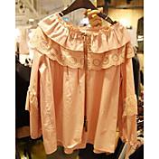 レディース お出かけ シャツ,キュート ラウンドネック 刺しゅう コットン 長袖