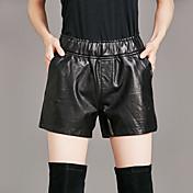Mujer Chic de Calle Tiro Medio strenchy Shorts Pantalones,Corte Recto Un Color