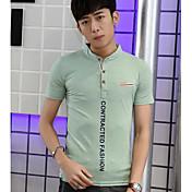 メンズ お出かけ Tシャツ,ストリートファッション ラウンドネック ソリッド コットン 半袖