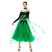 ボールルームダンス ワンピース 女性用 ダンスパフォーマンス スパンデックス チュール 2個 長袖 ハイウエスト ドレス Neckwear