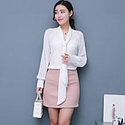 camisa simple del trabajo de las mujeres, cuello en v sólido manga larga otros moda, gasa
